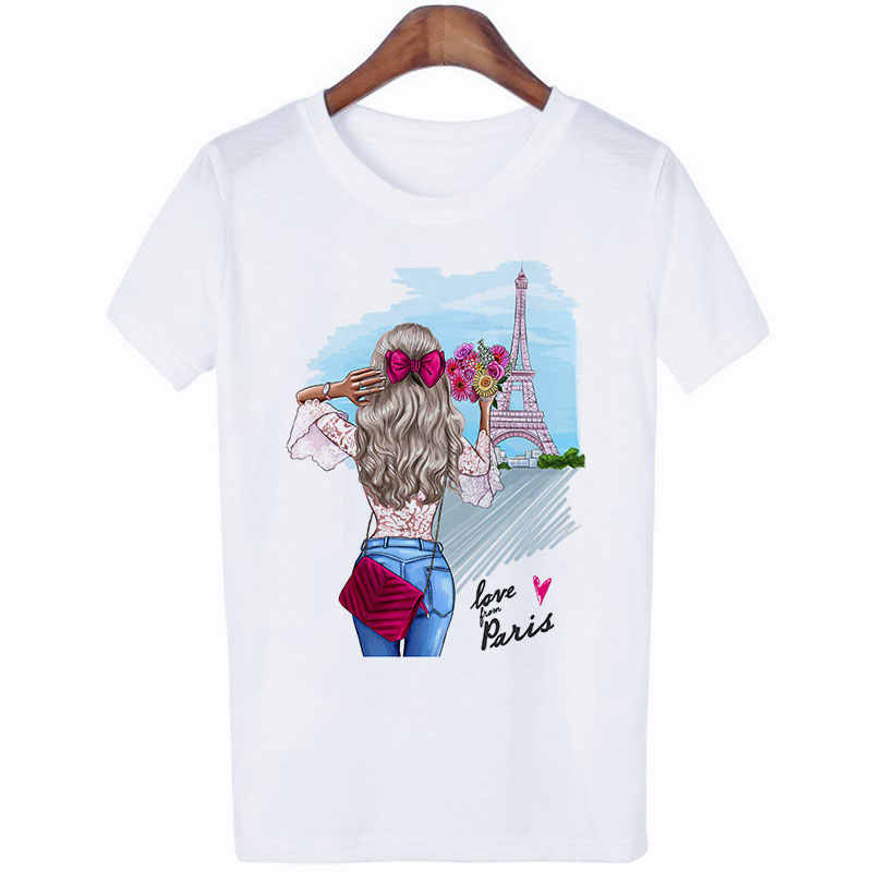 Roupas femininas 2019 Verão Seção Fina Camiseta Do Mose Do Que Lhe Faz Feliz Harajuku Impresso Vogue Streetwear Tshirt t-shirt