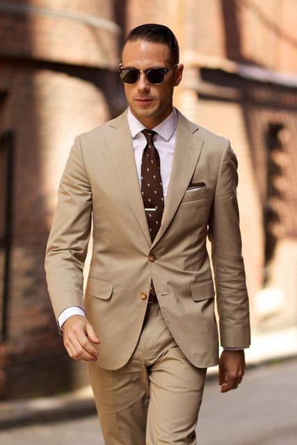 Online Shop 2017 Hot Sale Khaki Two Buttons Notch Lapel Men Suits ...