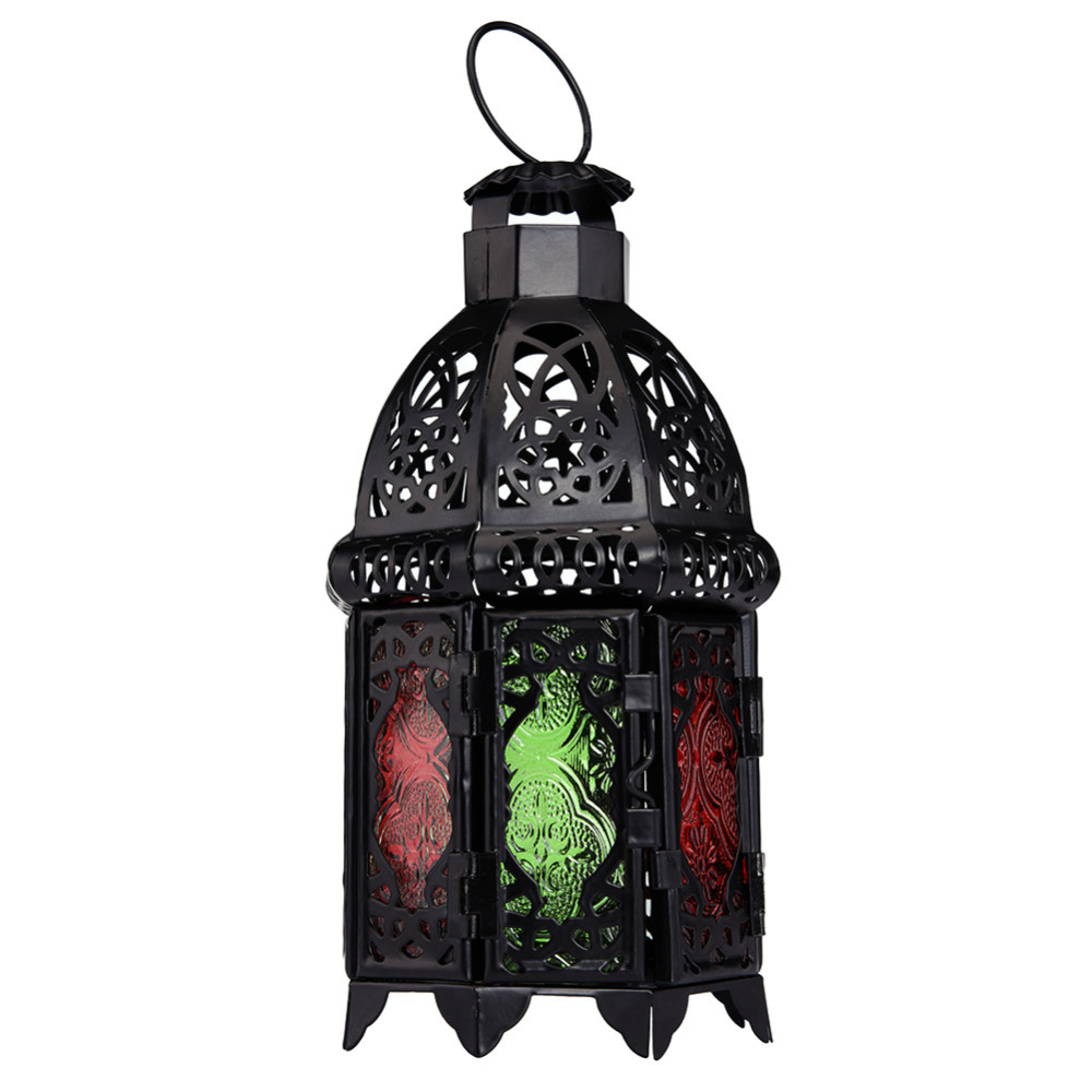 € 14.82 |Bougeoirs maroc Vintage métal creux bougeoir couleur verre cristal  marocain chandelier suspendu lanterne décor de mariage dans Bougeoirs de ...
