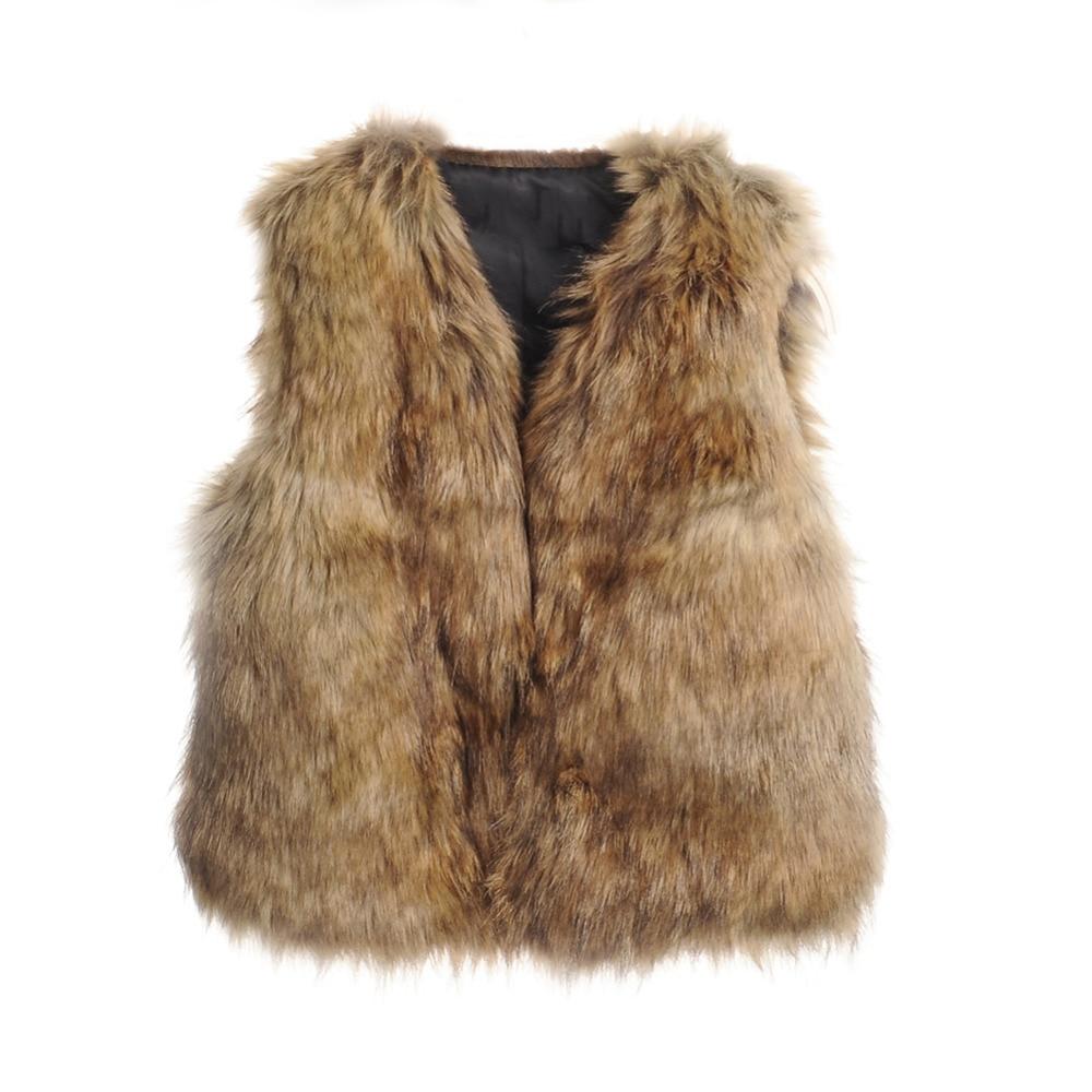 2016 Children s Faux Fur Vest Baby Girls Autumn Winter Thick Warm Long Fox Fur Clothing