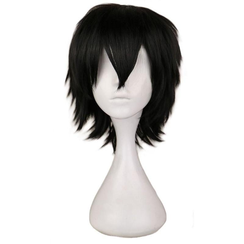 › Peruca de cabelo curto roxo, peruca para cosplay de cabelo sintético de 30 cm preto e branco, vermelho, com fibra de alta temperatura
