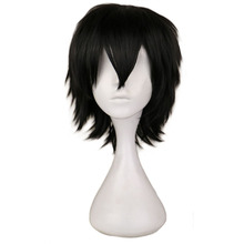 QQXCAIW Black White Purple Red Short Hair Cosplay Wig Male Party 30 Cm High Temperature Fiber Synthetic Wigs