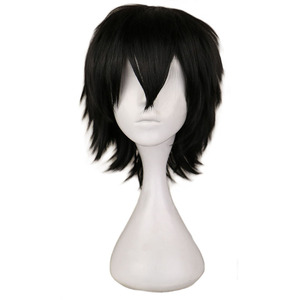 QQXCAIW Black White Purple Red Short Hair Cosplay Wig Male Party 30 Cm High Temperature Fiber Synthetic Hair Wigs(China)