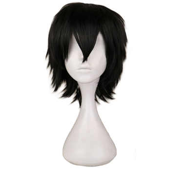 QQXCAIW Black White Purple Red Short Hair Cosplay Wig Male Party 30 Cm High Temperature Fiber Synthetic Hair Wigs - DISCOUNT ITEM  27% OFF All Category