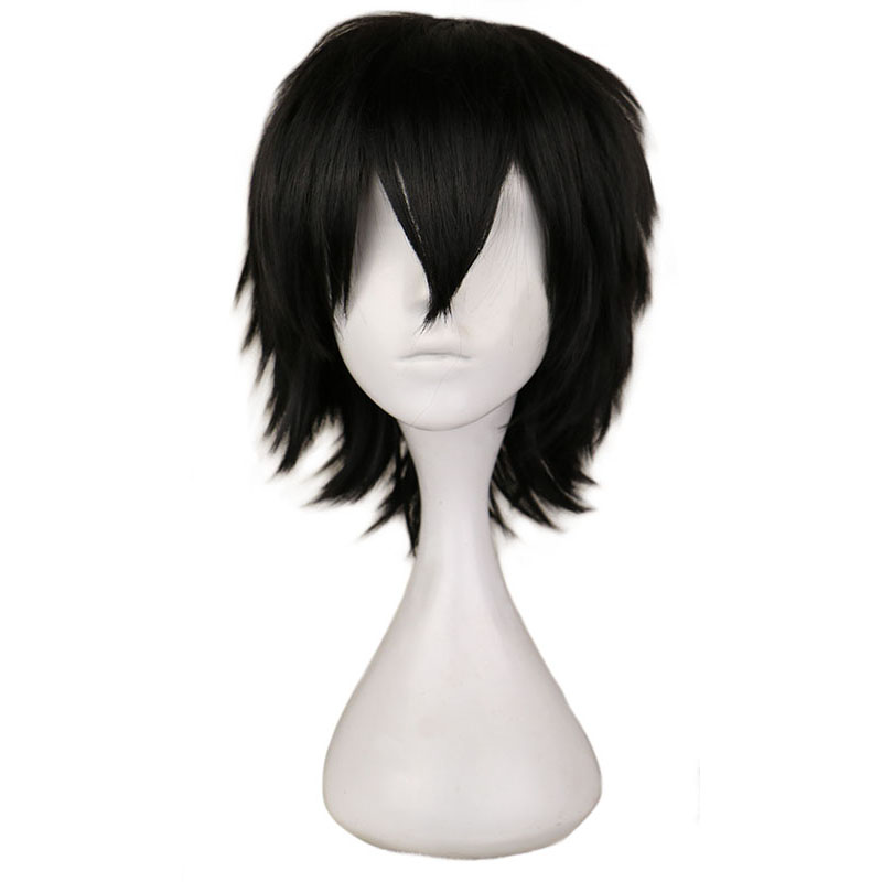 QQXCAIW Black White Purple Red Short Hair Cosplay Wig Male Party 30 Cm High Temperature Fiber Synthetic Hair Wigs image