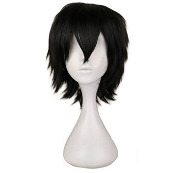 QQXCAIW czarny biały fioletowo-czerwony krótkie włosy peruka do cosplay mężczyzna Party 30 Cm wysokiej temperatury włókna syntetyczne peruki do włosów tanie i dobre opinie Proste 1 sztuka tylko Średnia wielkość