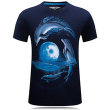 High Quality T Shirt 2016 New Arrival Fashion Brand Clothing 3D Print Dolphins T-shirt Casual Short Sleeve Tshirt Homme Fitness