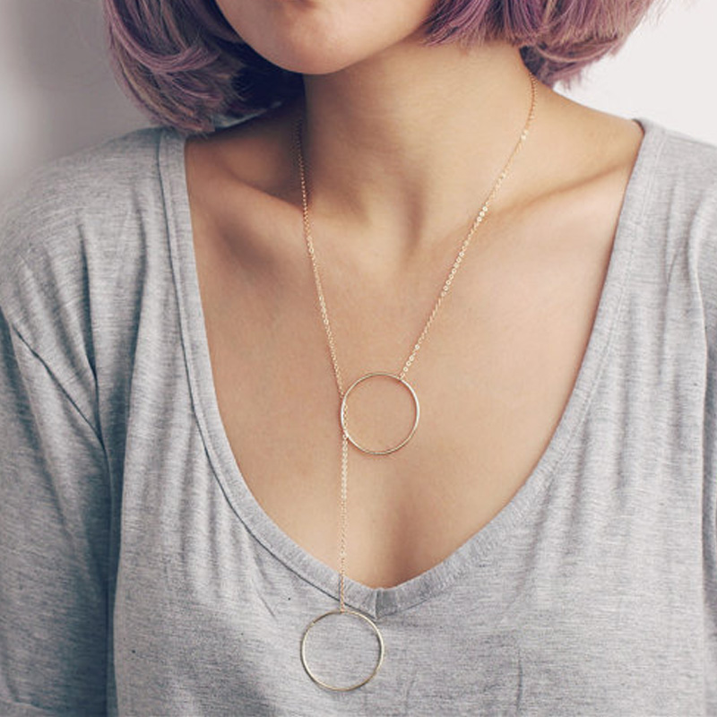 Delicate simple everyday infinity necklace - large double circles long lariat halo & bar Y necklace XL467 necklace