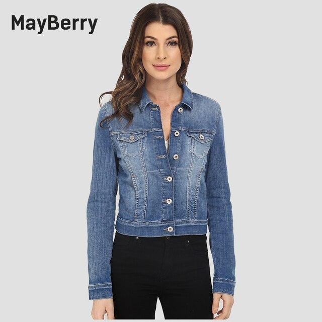 the latest bedb9 36b1d US $108.0 |MayBerry Jeans Donna Giacca di Jeans manica lunga della signora  jeans giacca collection in blue 99252 in MayBerry Jeans Donna Giacca di ...