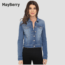 MayBerry Jeans Woman Denim Jacket long sleeve lady jeans jacket collection in blue 99252
