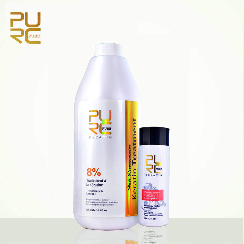 PURC best hair care set 8 formlain 1000ml keratin and 100ml purifying shampoo high quality hair