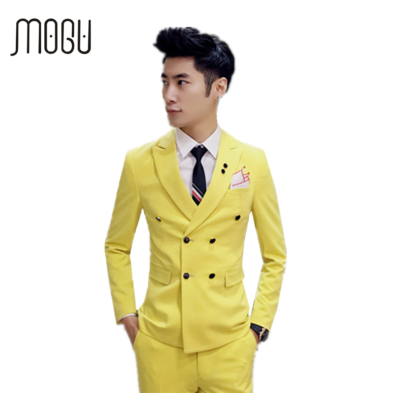 MOGU Three Piece Men Suit 2017 New Wedding Suits For Men Fashion Double Breasted Men