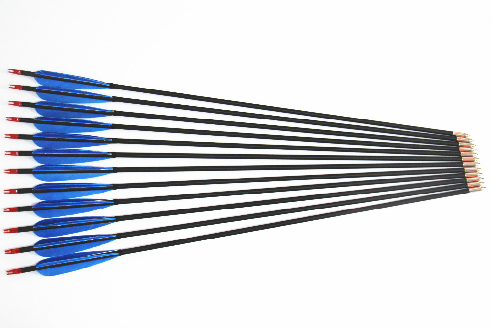 12pcs 5 inch Blue Turkey Feather Carbon Arrow Hunting Archery Arrows Handmade Carbon Shaft 30 Inches For Hunting 12pcs 31 carbon arrow with turkey feather for recurve bows archery hunting 350 spine