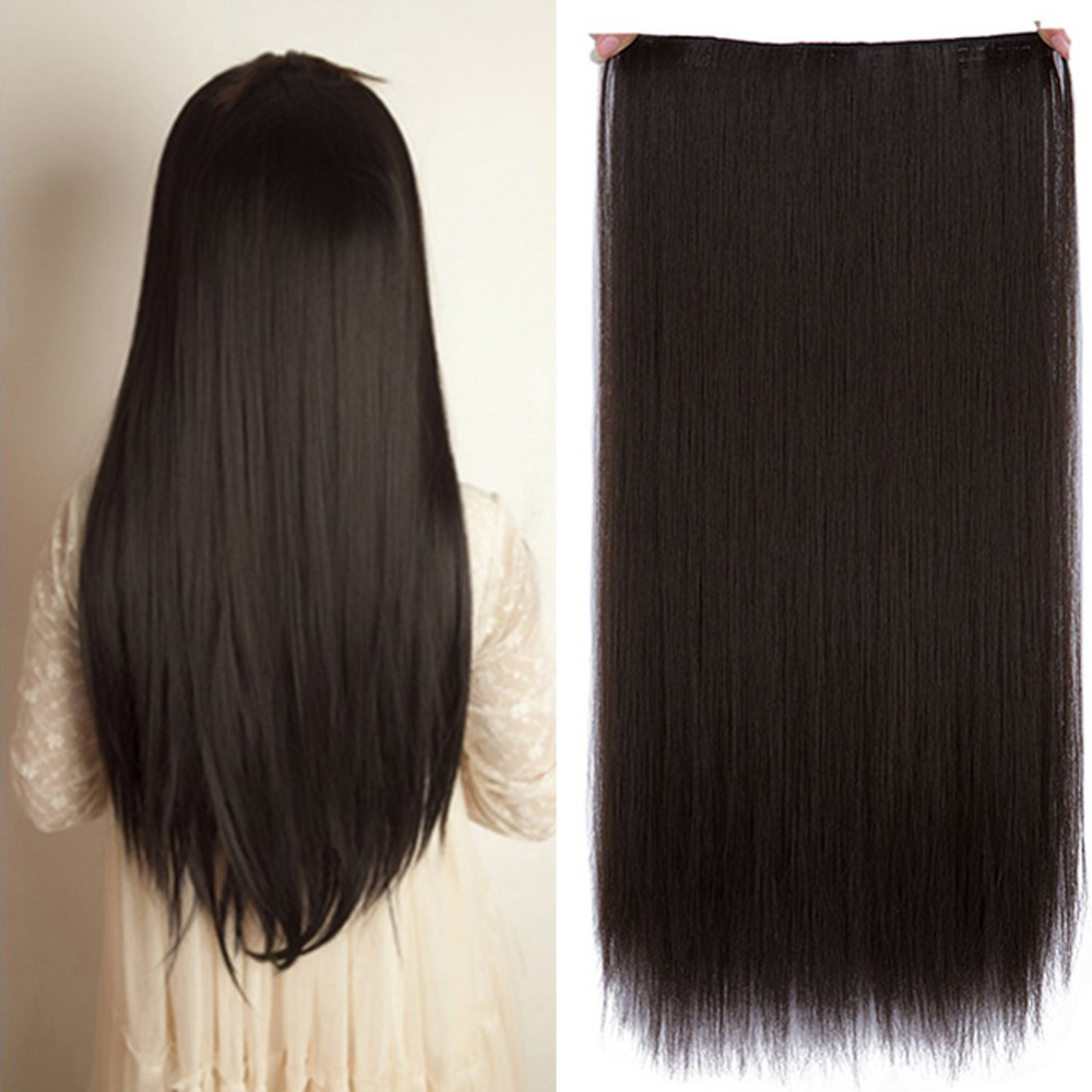 Long Straight Women Clip in Hair Extensions Black Brown High Tempreture Synthetic Hairpiece AOSIWIG ...