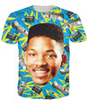 Unisex Women Men 3D Fresh Prince T-Shirt giant Will Smith head surrounded by brick cellphones old cassette tapes tee Tee