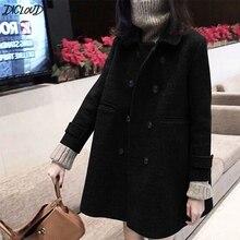 DICLOUD siyah mont kadın kış kruvaze ceket bayanlar kore marka tasarımcı kıyafetleri uzun ceketler kadın moda giyim