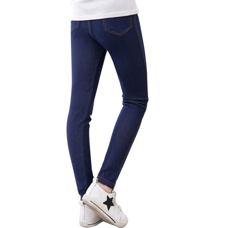 Girls Pants Mid Waist Full Length Pants Girls Leggings Pencil Denim Fabric Kids Jeans Candy ...