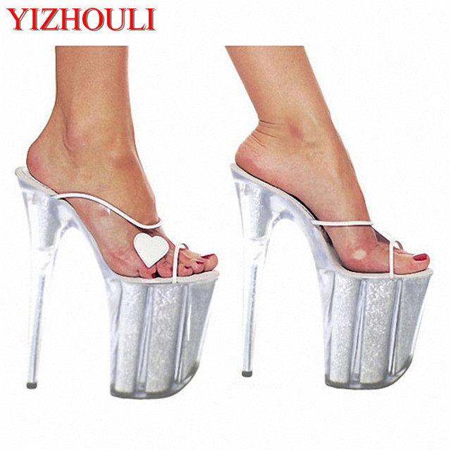 590d0425b25 20cm Women s Ultra High Heel Shoes Queen Crystal Platform Shoes Heart-Shaped  Party Slippers Sexy Sandals 8 Inch High Heel Shoes