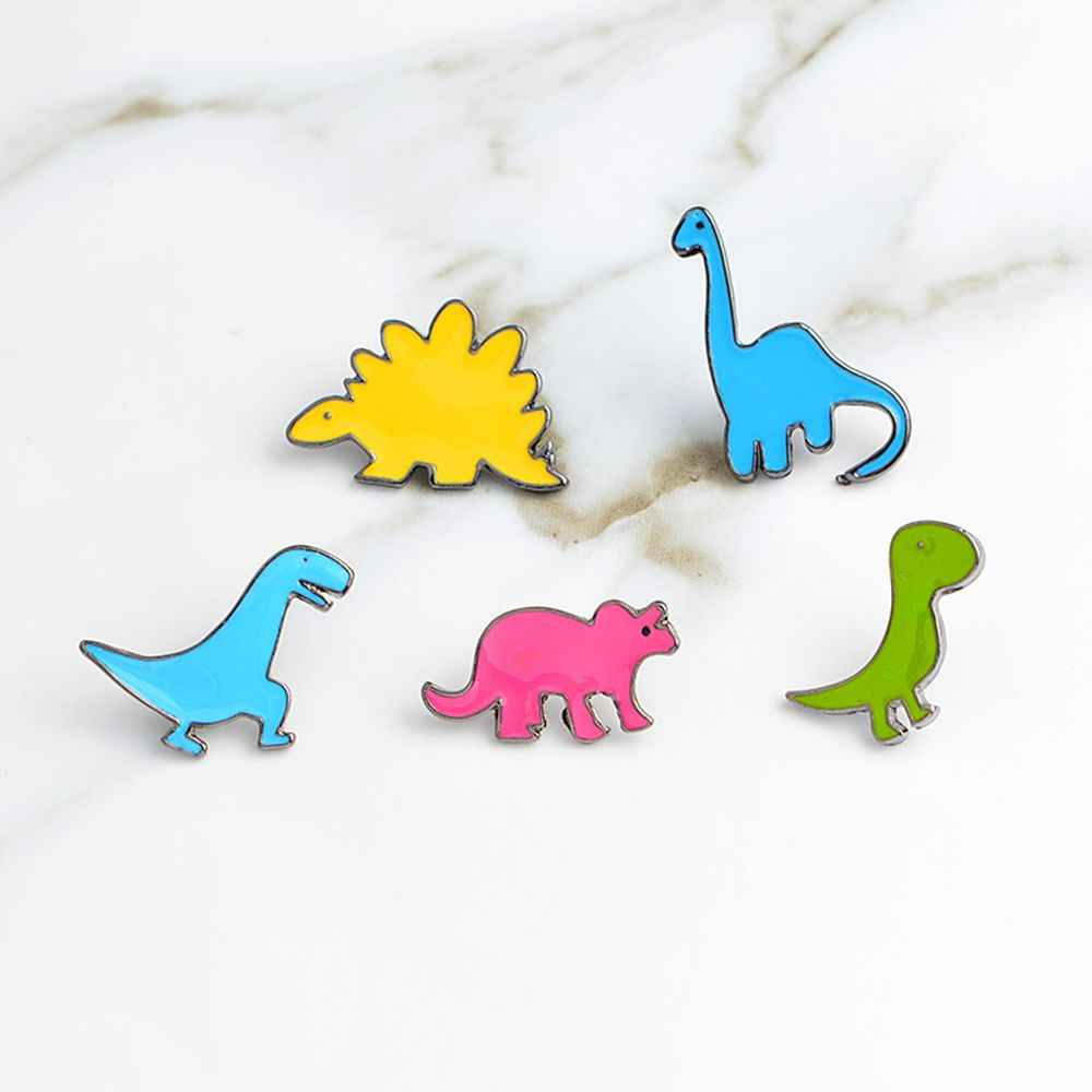 Dinosauro variopinto Dello Smalto Spilla Apatosaurus Stegosauro Spilli Vestiti Denim Button Badge Risvolto Del Collare Maglione Giubbotti Spilla