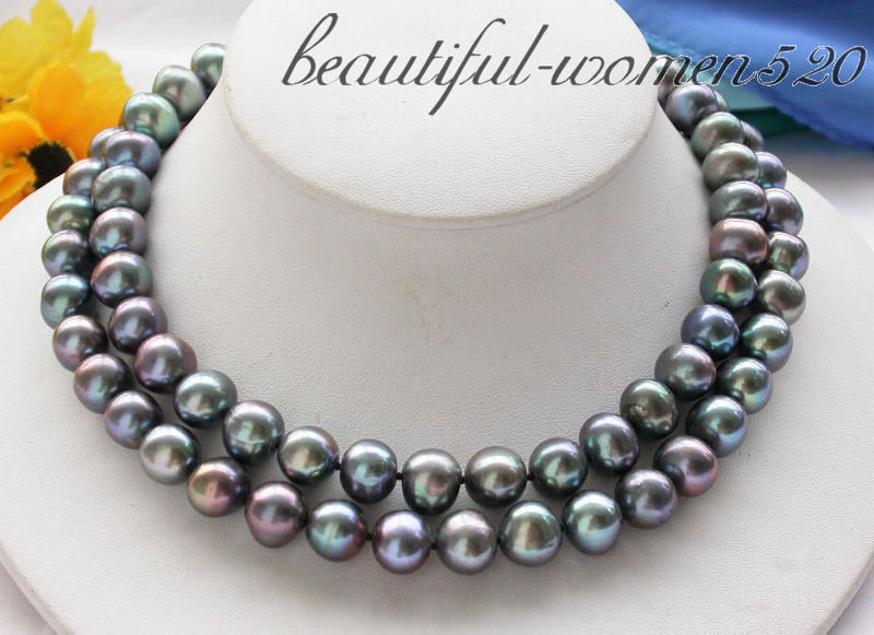 Z3944 32 12mm Black round freshwater pearl cultured necklace 50 12mm round black freshwater cultured pearl necklace