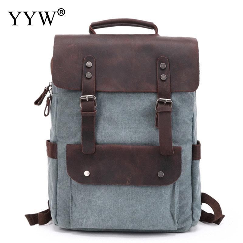 Vintage Canvas Backpack Birthday Gift Men Waterproof Travel Shoulder Bag High Quality Fashion Student Bag Laptop Male Backpack sweet style round neck long sleeve printed pocket design cardigan for women