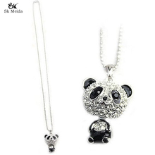 Pretty Enamel Panda Pendant Necklace Women Crystal Accessories Sweater Chain Jewelry Manufacturing Clothing Accessories HL-28