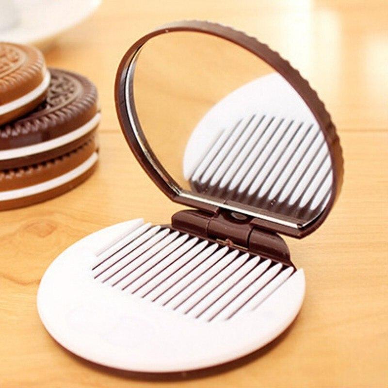 Dame Frauen Make-up Werkzeug Tasche Spiegel Home Office Verwenden Nette Schokolade Cookie Förmigen Design Make-up Spiegel Mit Kamm