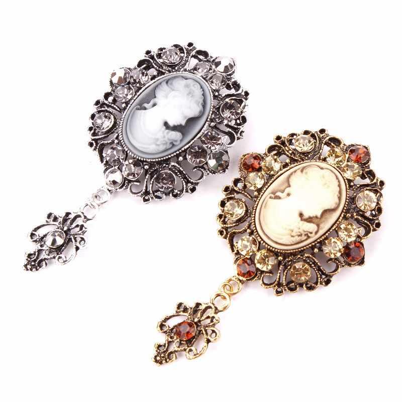 ... MEEDU Vintage Gold Silver Drop Elegant Beauty Queen Brooch Safety Cameo  Rhinestone Brooch Pins Women Girls ... 1ac0dc214532