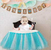 Baby Shower Birthday Party Tulle Table Skirts Chair Skirts Boy Girl Baptism DIY Crafts Wall Decoration