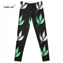 Free shipping hot sexy fashion leaf leggins pants digital printing of leggings for women drop