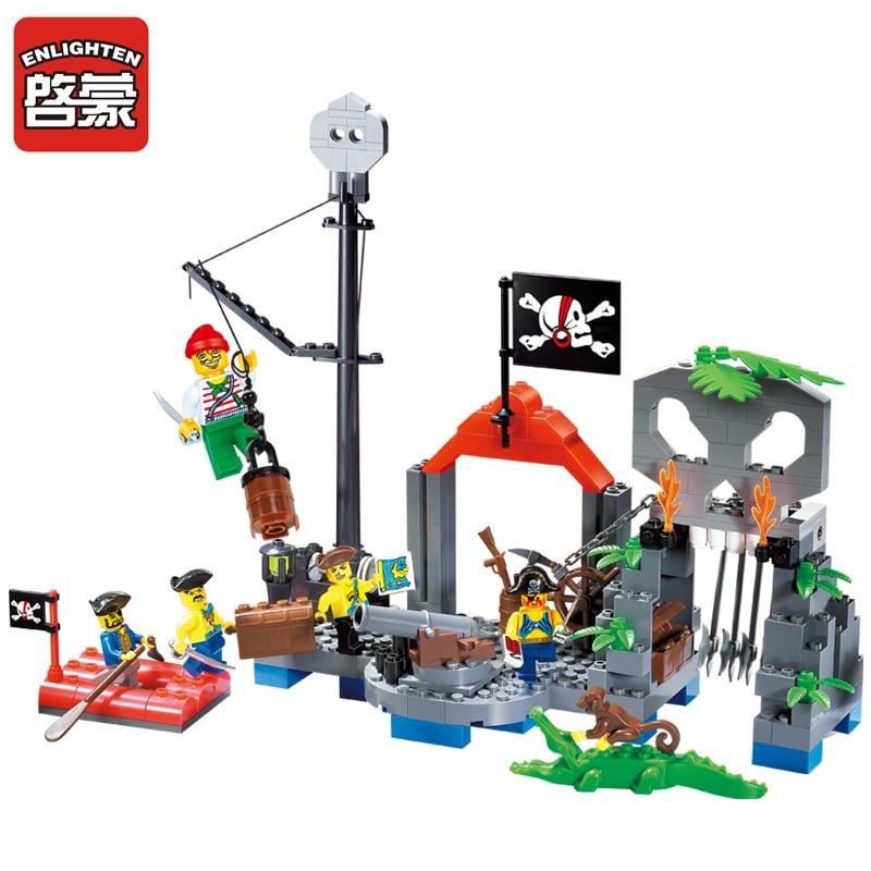 Enlighten 206pcs Pirate Baot Pirate Super Ship Skeleton Hamlet Figure Blocks Compatible Legoings Building Toys For Children Gift To Win A High Admiration Model Building