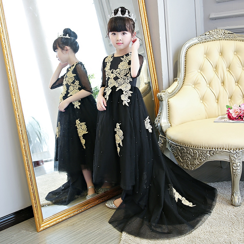 2018 Summer New Children Girls Princess Flowers Party Dress With Long Tailing Kids Babies Evening Model Performance Prom Dress knotted plunge long prom dress with slit