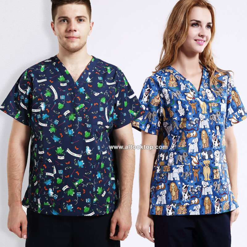 DHL 10sets Women men hospital clinic doctor workwear scrub set pet print medical robe medical clothing nurse uniform top + pants