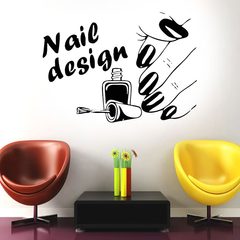 Nail Design Salon Vinyl Wall Decal Sticker Airbrush Manicure Business Polish F774 ...
