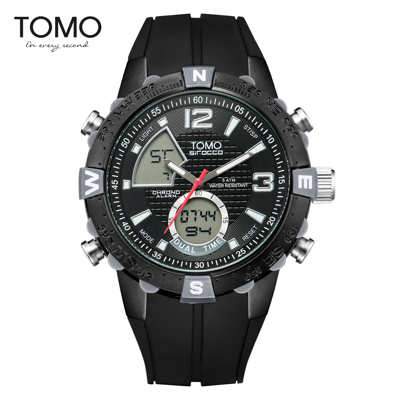 Tomo Multifunctional Sports Watch Large Dial Waterproof Luminous Male Two Time Zone Display Electronic Watch men s waterproof sports watch multifunctional watch w dual time zone led