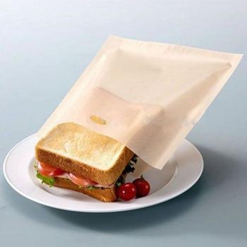 2 uds bolsas para tostadora para sándwiches de queso a la parrilla hecho fácil reutilizable antiadherente pan tostado bolsas Brotbeutel Bolsa de pan