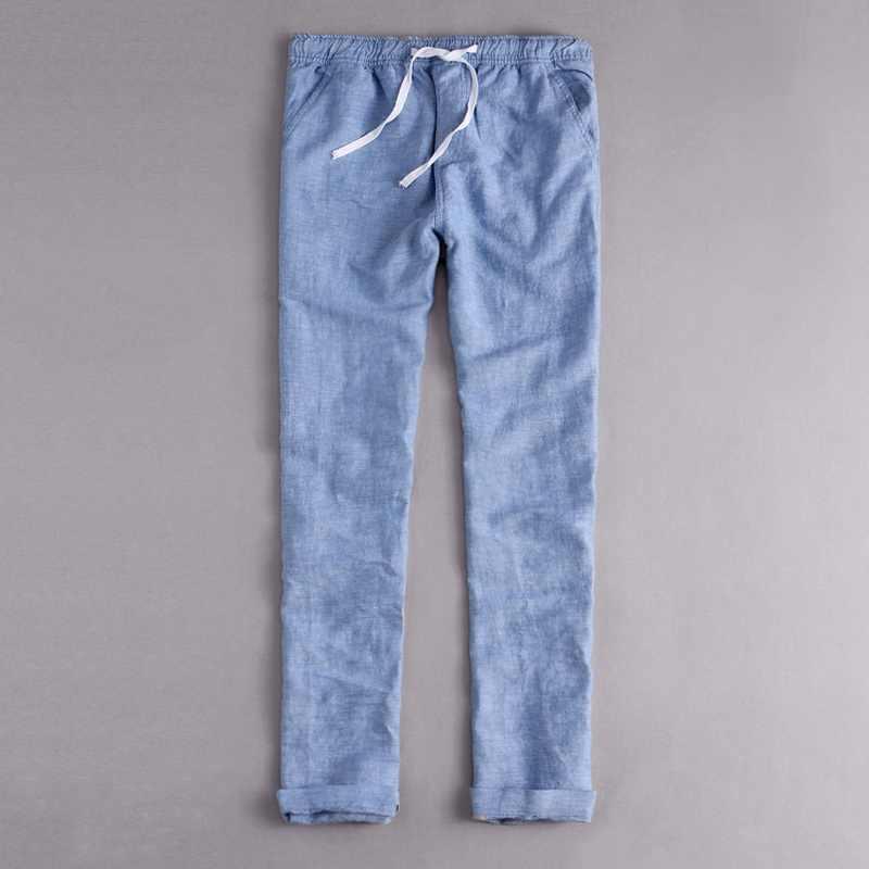 Męskie spodnie lniane długie bawełniane spodnie na co dzień mężczyźni stałe spodnie dla mężczyzn spodnie Cargo Homens Pantalons wlać Mannen Broek