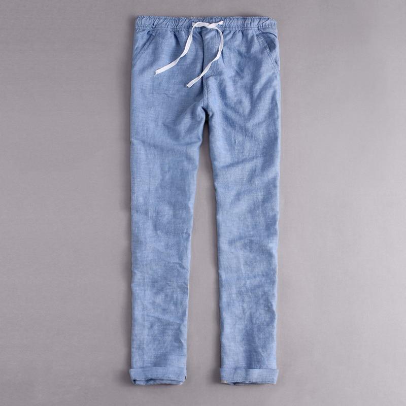 Männer Leinenhosen Lange Baumwolle Casual Hosen Männer Feste Hosen Für Männer Cargohose Homens Pantalons Pour Mannen Broek