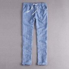 Pantalones de lino largos algodón Hombre Casual para sólidos carga