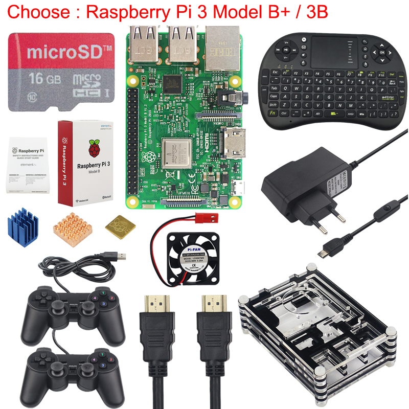 Raspberry Pi 3 Game Kit + 16G SD Card + Wireless Keyboard + Game Controller + Case + Power + Heat Sink +HDMI Cable for RetroPieRaspberry Pi 3 Game Kit + 16G SD Card + Wireless Keyboard + Game Controller + Case + Power + Heat Sink +HDMI Cable for RetroPie
