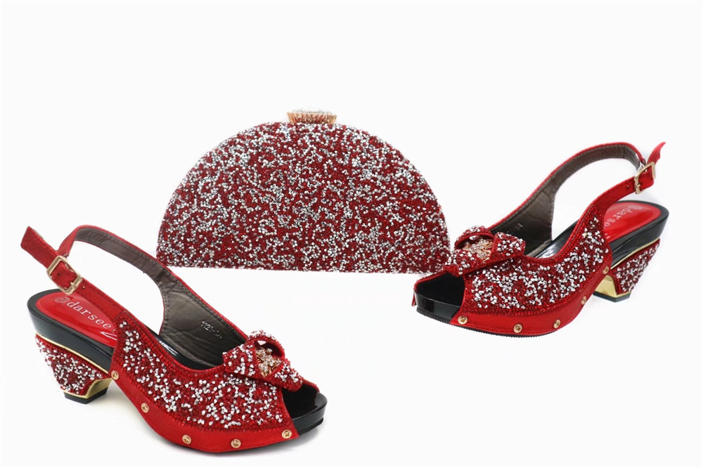 Shoes and Bag Set African Sets Red Color African Shoe and Bag Set for Party In Women Nigerian Shoes and Bag Set сарафан doctor e