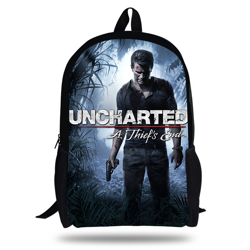 16-inch Uncharted 4 Game Character Backpacks Classic Pc Game A Thief's Print Bag For School Boys Daily Backpacks For Students