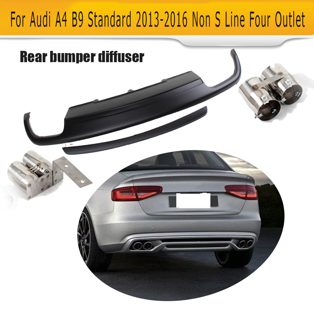 Rear bumper diffuser lip spoiler with exhaust for audi a4 b9 standard sedan 4 door 13