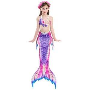 Image 4 - Çocuk Mermaid kuyruk Monofin ile Fin Cosplay kostüm kız çocuk mayo Ariel yüzücü yüzme