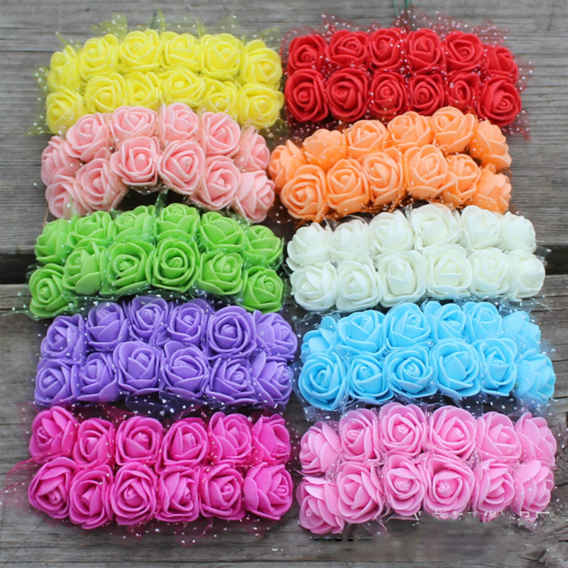 72 pics Artificial flowers PE Mini Foam Rose head For Home Wedding Car Decoration DIY Po ...