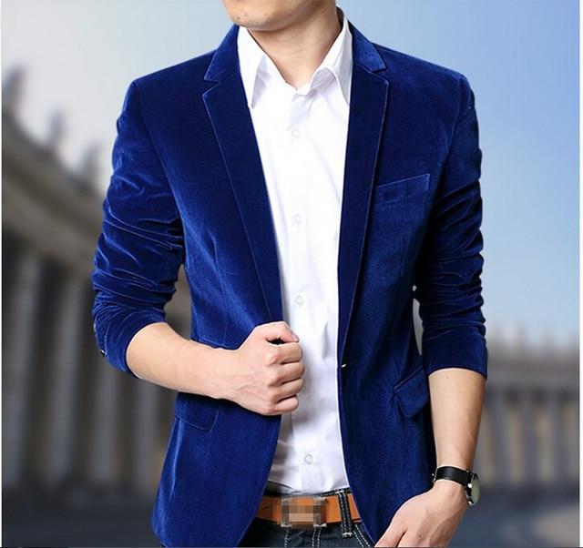 2017 Black Blue Velvet Masculino Blazer Men Party Wedding Dress Outerwear Male Slim