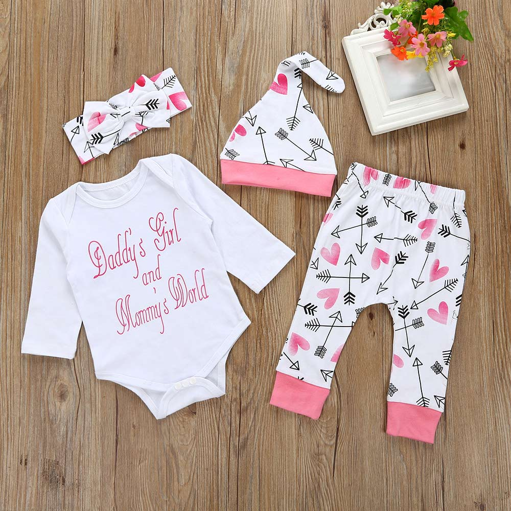 4 Pcs/Set Autumn Infant Newborn Romper Pants Hat Headband Long Sleeve Jumpsuit Letter Arrows Printed Baby Outfit Clothes YH-17 4pcs set newborn baby clothes infant bebes short sleeve mini mama bodysuit romper headband gold heart striped leg warmer outfit