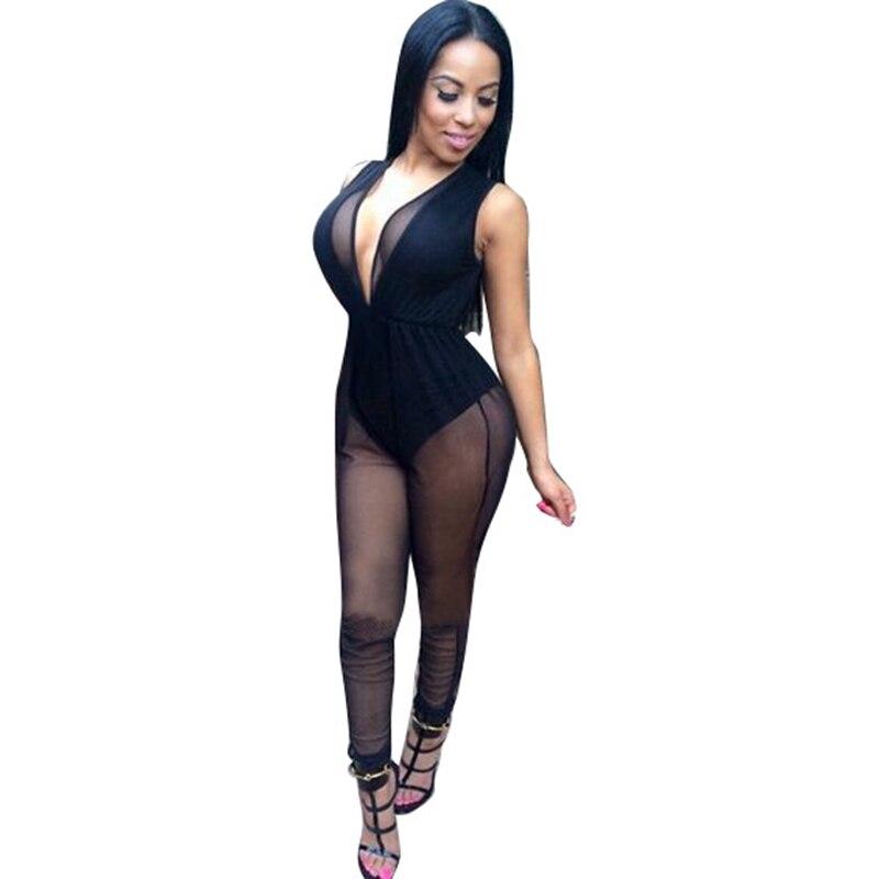 b8d0f531bfd MUXU black jumpsuit bodysuit body feminino sexy mesh long jumpsuit plus  size women summer club transparent sleeveless jumpsuit
