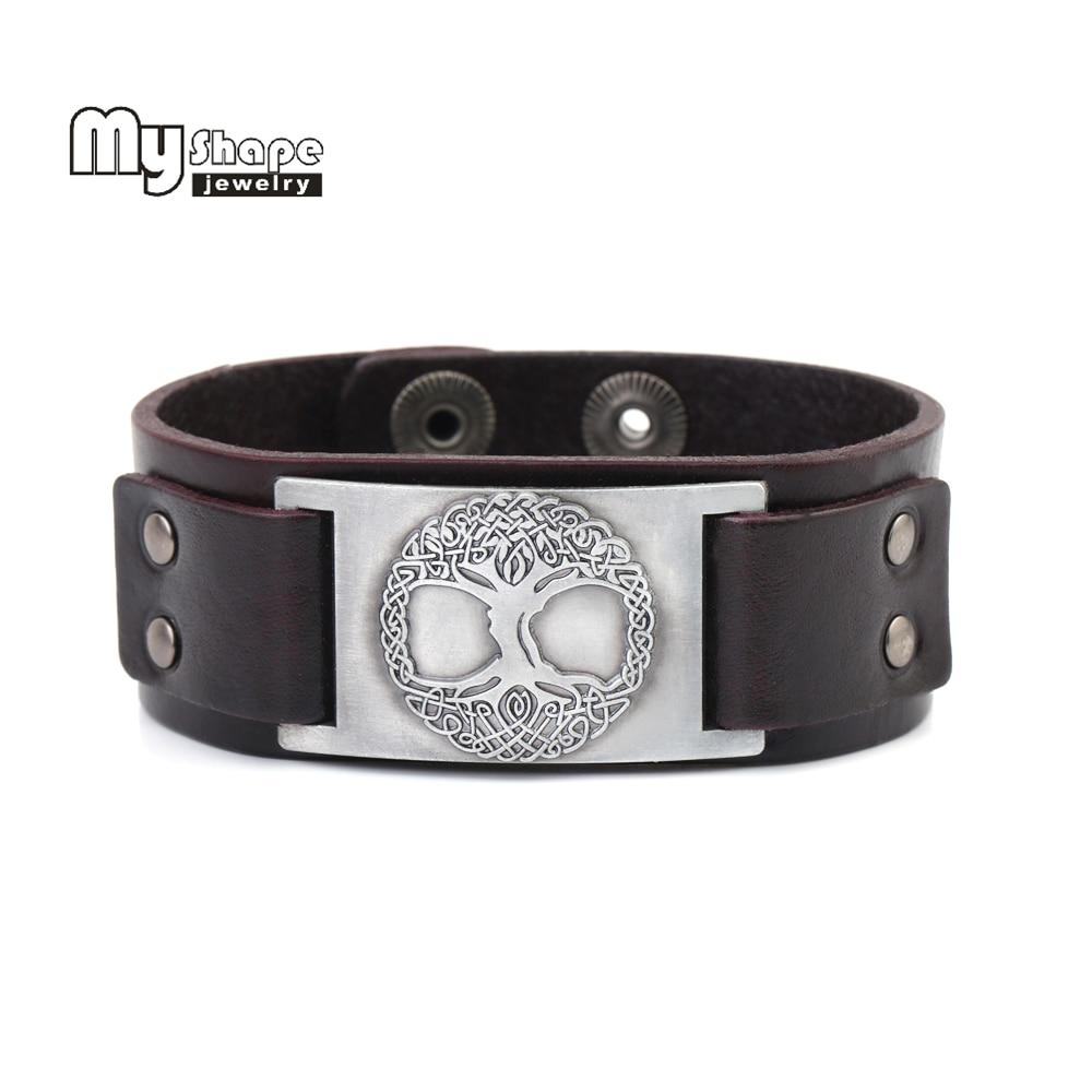My Shape Vintage Wristband Slavic Tree of Life Genuine Leather Strap Bracelet Men Religion Totem Lucky Viking Bangle