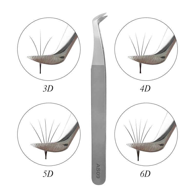 Pinças para o volume dos cílios extensão 3D 5D 6D AS09 pestana ferramenta extensão individual cílios pinças pinças de aço inoxidável